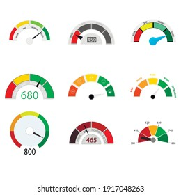 Credit rate indicator collection. Vector rating finance measure, dashboard panel equipment, mortgage application level, meter to bank credit illustration