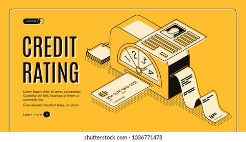 Credit rating analytics, scoring online service isometric vector web banner. Banking card in calculation machine and lender personal dossier line art illustration. Credit agency landing page template