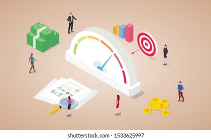 credit rating score with financial meter with money and goals icon with modern isometric flat style - vector