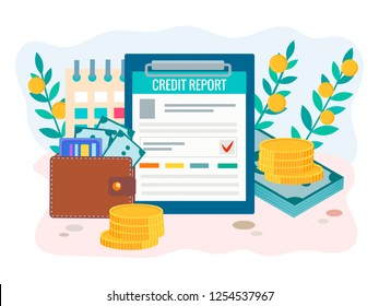 Credit report concept. Wallet with money, credit cards, credit report form and calendar. Vector illustration for web design, social media and posters.
