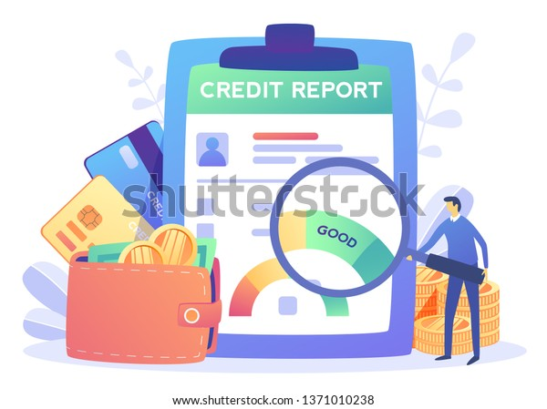 Credit report document concept. Money , Credit card, lending, infographic, with people, businessman Personal credit score information for presentation, web page. Vector illustration in flat style
