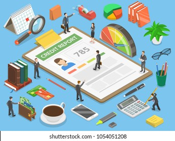 Credit report, flat isometric vector concept of personal credit score information and financial rating.