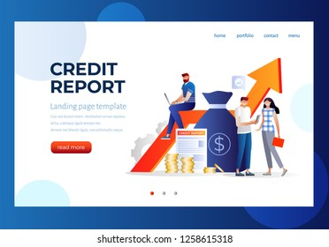 credit report vector illustration concept, people analysis calculate credit report, can use for, landing page, template, ui, web, mobile app, poster, banner, flyer. Characters design