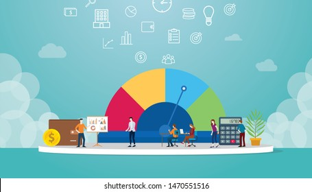 credit score business concept for profile data with team analyze financial data with sign or symbol meter with modern flat style - vector