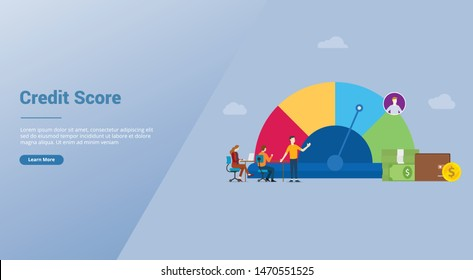 credit score business concept for profile data with team analyze financial data with modern flat style for website template or landing homepage - vector