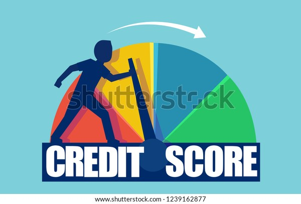 Credit score concept. Vector of a businessman pushing scale changing credit information from poor to good.