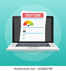 Credit score document. Paper sheet chart of personal credit score information. Vector stock illustration.
