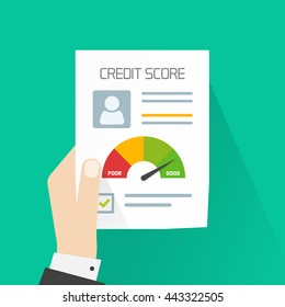 Credit score document vector concept, banker hand holding paper sheet chart of personal credit score information, person data report form, good index of credit history and approved stamp isolated