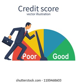 Credit score, gauge. Businessman pushing speedometer scale changing personal credit information. Poor and Good. Vector illustration flat design. Isolated on white background. Business aspirations.