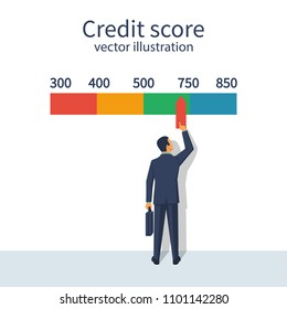 Credit score, gauge. Man changing personal credit information. Report form document. Vector illustration flat design. Isolated on white background. Graph sheet.