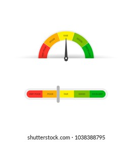 Credit Score Gauge. Vector illustrations manometer on white background. Vector EPS 10