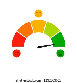 Credit score indicator isolated on white background. Vector accuracy and gauge indicator, arrow score for credit rating level illustration