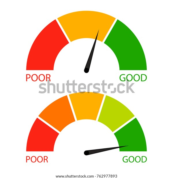 Credit score indicator set. Pointer needle and spectrum level, vector financial indicator rating illustration