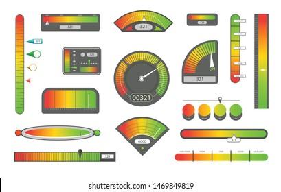 Credit score indicators. Customer satisfaction indicators with poor and good levels. Speedometer goods gauge rating meter.