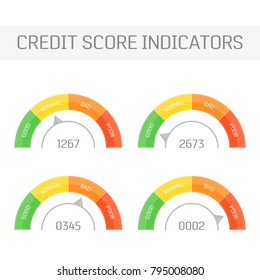 Credit Score indicators set. Manometer with different cursor position isolated on white background. Financial history assessment of credit score meter. Vector illustration EPS 10.