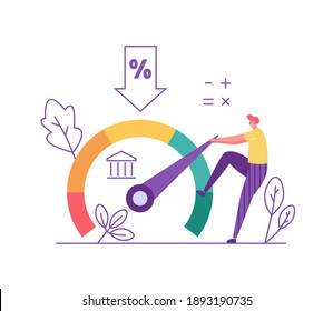Credit Score. Man Increasing Credit Rating for Low Rates. Interest Rates Dropping. Client Decrease Percent. Concept of Credit Report, Banking Service, Mortgage Loan. Vector illustration for Web Design