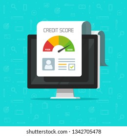 Credit score online report document on computer screen, flat cartoon digital good history ranking loan record on pc display, modern icon isolated