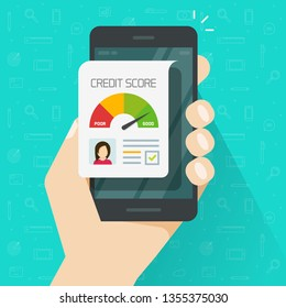 Credit score online report document on smartphone, flat cartoon digital good history ranking loan record on mobile phone display, cellphone report isolated