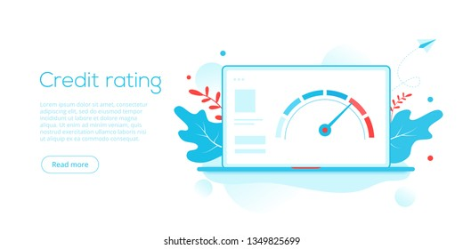 Credit score or rating concept in flat vector illustration. Loan history meter or scale for creditworthiness report. Web banner layout template.