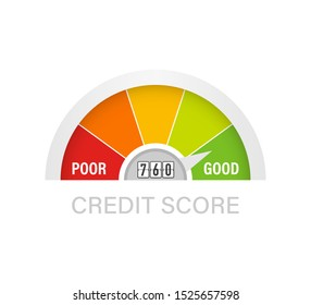 Credit score scale showing good value. Vector illustration.