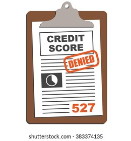 Credit Score Sheet on Clipboard with Red Stamp Approved or Denied Text