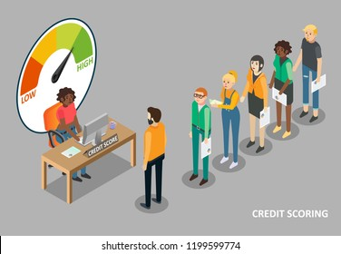 Credit scoring vector flat isometric illustration. People waiting in queue for getting personal credit score information.
