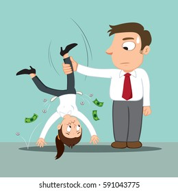 Creditor shaking money from broke female debtor, vector illustration cartoon