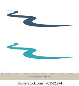 Creek Line Vector Logo Template Illustration Design. Vector EPS 10.