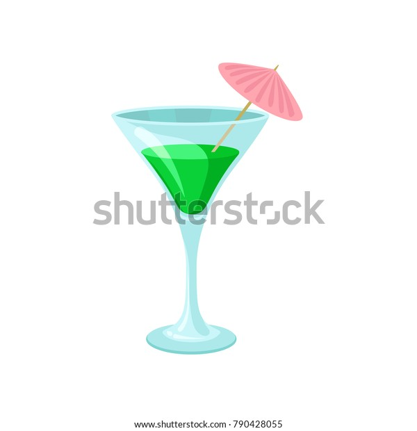 Creen Cocktail Umbrella Martini Glass Cartoon Stock Vector Royalty Free 790428055