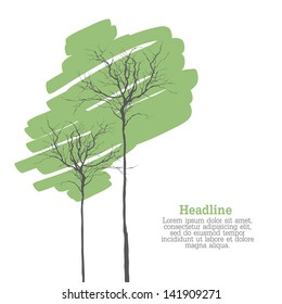 Creen Trees On White With Space For Text. Vector
