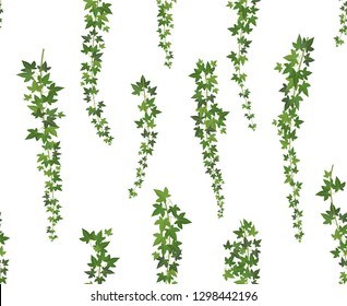 Creeper green ivy. Wall climbing plant hanging from above. Garden decoration ivy vines. Seamless background vector illustration