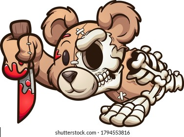 Creepy bear crawling and holding a knife. Vector clip art illustration. All on a single layer.