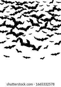 Creepy black bats swarm isolated on white vector Halloween background. Rearmouse night creatures illustration. Silhouettes of flying bats vampire Halloween symbols on white.