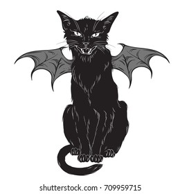 Creepy black cat with monster wings isolated over white background. Wiccan familiar spirit, halloween or pagan witchcraft theme print design vector illustration