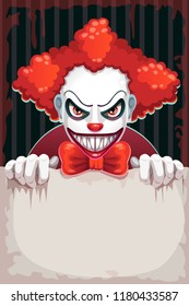 Creepy circus poster. Scary evil clown with paper banner in the hand. Halloween background.