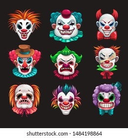 Creepy clown faces set. Scary circus elements. Vector Halloween masks illustration.