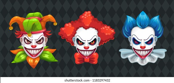 Creepy clown faces set. Spooky Halloween masks with angry smile. Jester and Joker characters. Scary makeup collection, vector illustration.