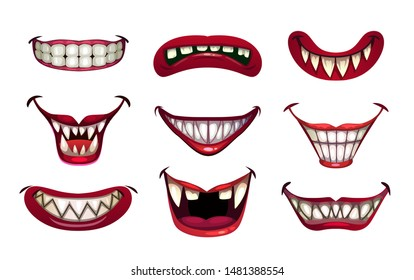 Creepy clown mouths set. Scary smile with jaws and red lips. Vector Halloween elements.