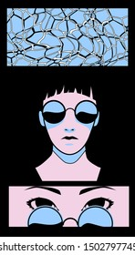 Creepy comic strip with swimming pool and gothic woman wearing sunglases and hat. Poster or cover for Helloween  party in style of comic strip frames.