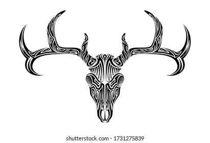 Creepy deer skull with antlers horns ethnic tribal tattoo vector art design illustration