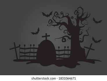 A creepy graveyard graphic for the theme of Halloween.  Different crosses a tombstone, a spooky tree and bats.