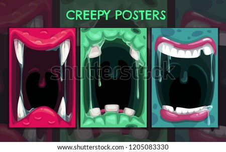 Creepy Halloween Backgrounds Monster Mouth Posters Stock Vector