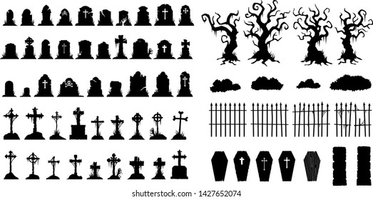 Creepy Halloween Graveyard Headstones Coffins Trees Fences Zombies silhouettes