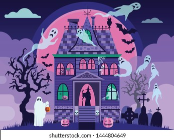 Creepy Halloween haunted house with ghosts, skeleton, witch, spider on web and sculls. Halloween october night postcard with victorian manor house in mist, graveyard, dead trees, bats and full moon.