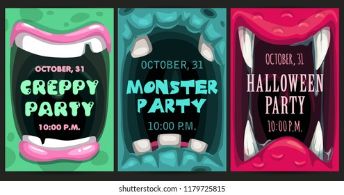 Creepy Halloween party invitation flyers. Monster mouth posters set. Vector scary illustrations set.