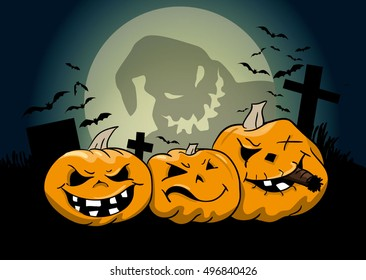 Creepy halloween pumpkins on the cemetery with moonlight ghost and bats