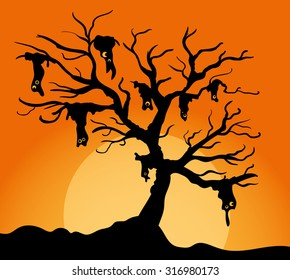 Creepy halloween tree with monsters