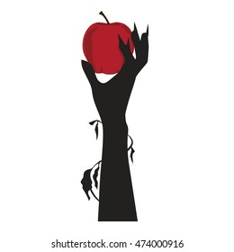 Creepy Hand Hold a Red Apple, Halloween Vector Illustration