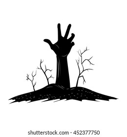 Creepy Hand Raise over the Grave with Dry tree, Silhouette and Hand drawn style