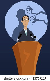 Creepy hands reaching for a man, standing on a podium, as a metaphor for a fear of public speaking, EPS 8 vector illustration, no transparencies